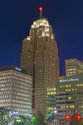 The Penobscot Building at night